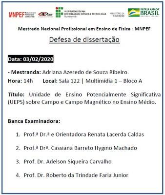 Defesa de Dissertação => Unidade de Ensino Potencialmente Significativa (UEPS) sobre Campo e Campo Magnético no Ensino Médio