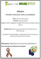 """Palestra - """"AUTISMO e EDUCAÇÃO: limites e possibilidades"""""""